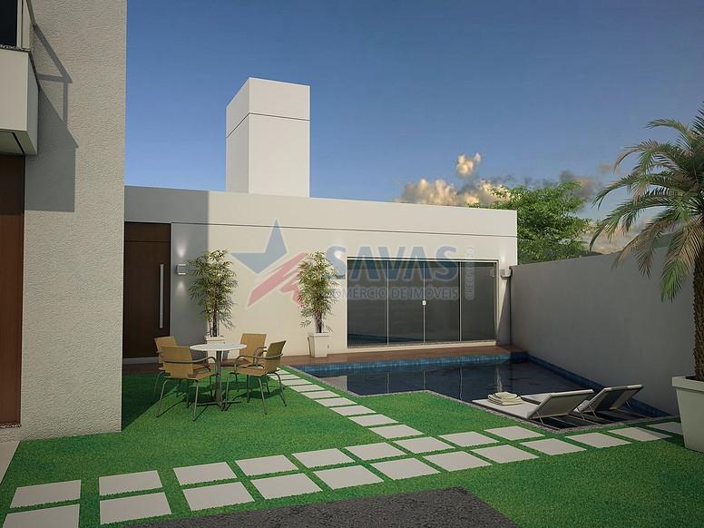 Salão de festas com piscina